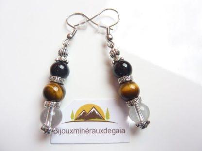 Boucles d'oreilles quartz cristal de roche-Oeil de tigre-Tourmaline noire - 8 mm
