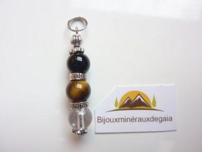 Pendentif quartz cristal de roche-Oeil de tigre-Tourmaline noire - 8 mm