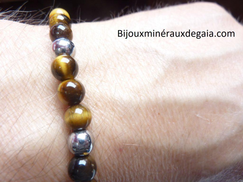 Bracelet Hématite-Oeil de tigre perles rondes 6 mm