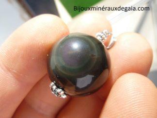 Pendentif Obsidienne oeil céleste ref 5842