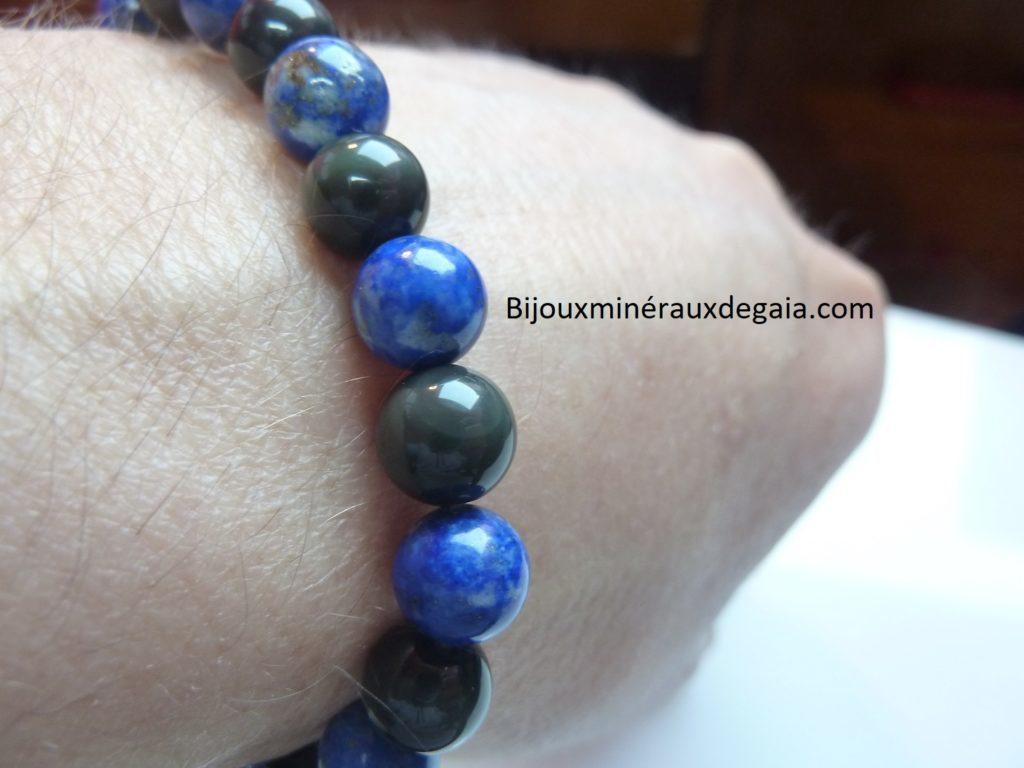 Bracelet Lapis lazuli-Obsidienne oeil céleste perles rondes 8 mm