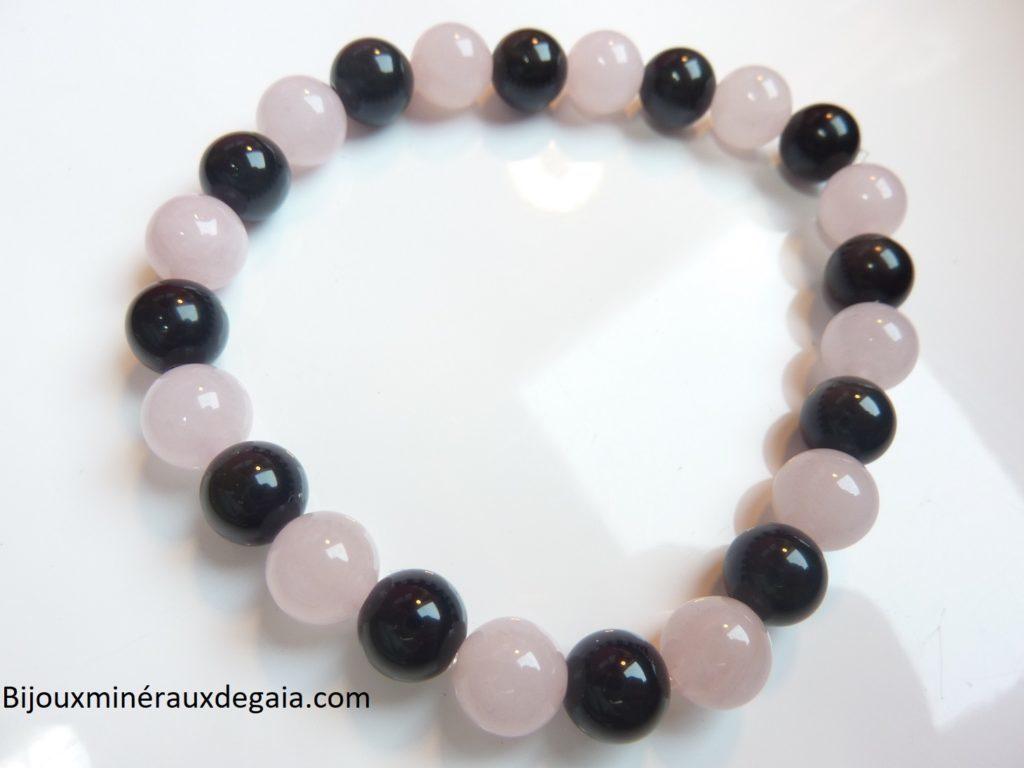 Bracelet Quartz rose-Obsidienne oeil céleste perles 8 mm