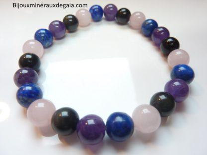 Bracelet Quartz rose-Améthyste-Lapis lazuli-Obsidienne oeil céleste perles 8 mm