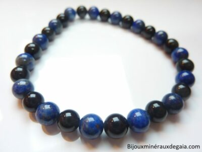 Bracelet Lapis lazuli-Obsidienne oeil céleste perles rondes 6 mm