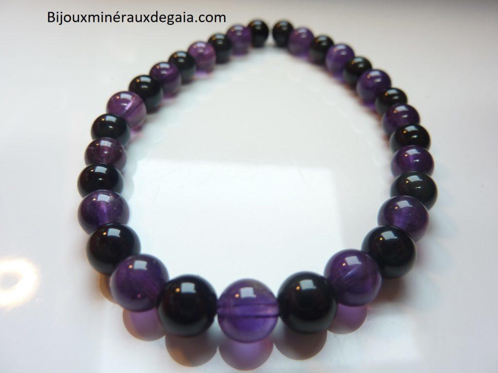 Bracelet Améthyste-Obsidienne oeil céleste perles 6 mm