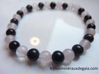 Bracelet Quartz rose-Obsidienne oeil céleste perles 6 mm