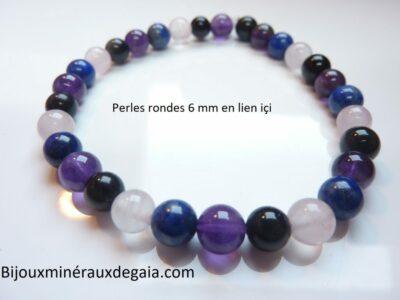 Quartz rose-Améthyste-Lapis lazuli-Obsidienne oeil céleste perles 8 mm