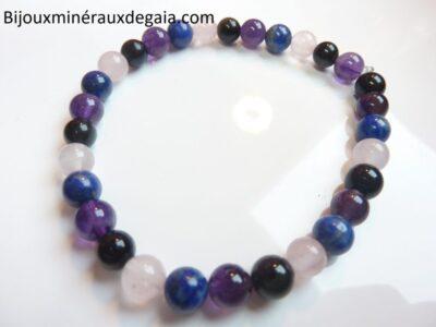 Bracelet Quartz rose-Améthyste-Lapis lazuli-Obsidienne oeil céleste perles 6 mm
