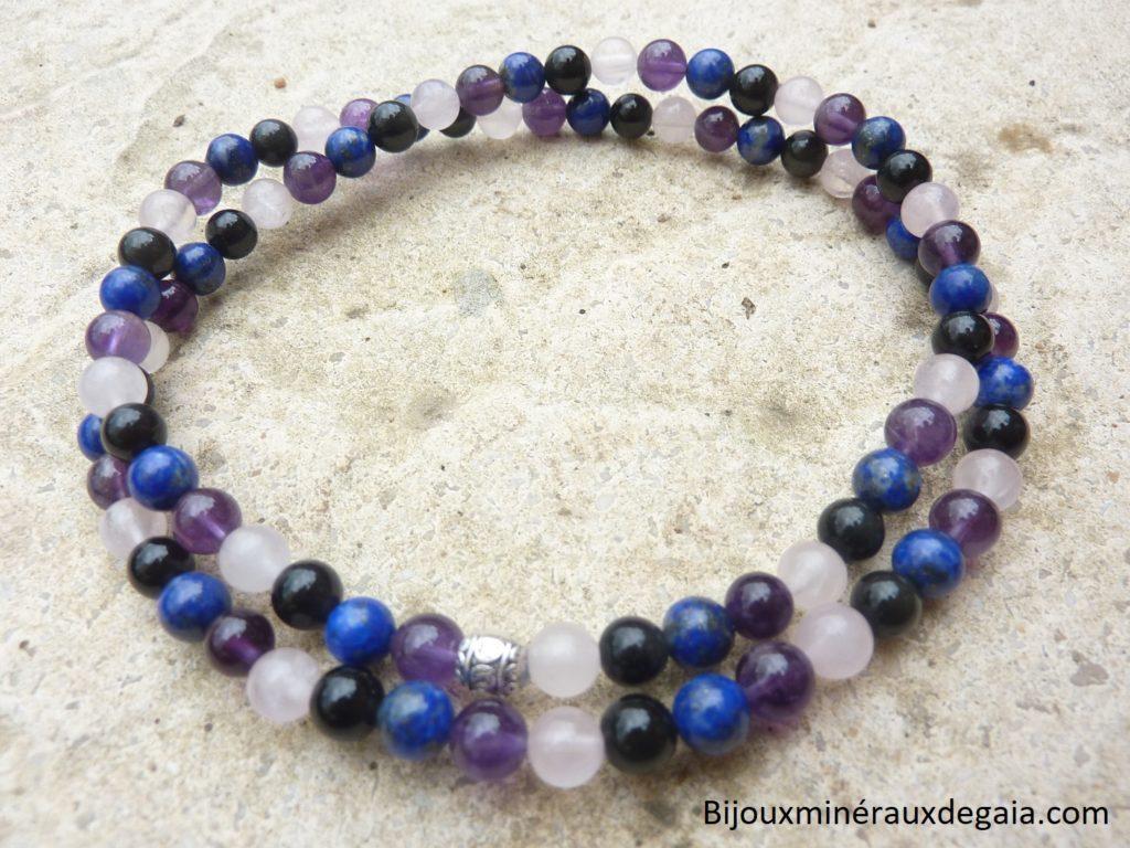 Collier-bracelet Quartz rose-Améthyste-Lapis lazuli-Obsidienne oeil céleste