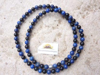 Collier Lapis lazuli-Obsidienne oeil céleste perles rondes 6 mm