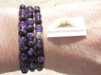 Collier ou bracelet Améthyste-Obsidienne oeil céleste perles rondes 6 mm
