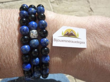 Collier ou bracelet Lapis lazuli-Obsidienne oeil céleste perles rondes 6 mm