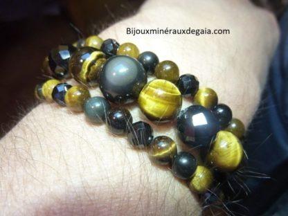 Bracelet-Collier Spinelle noir-Obsidienne Oeil céleste-Oeil de tigre