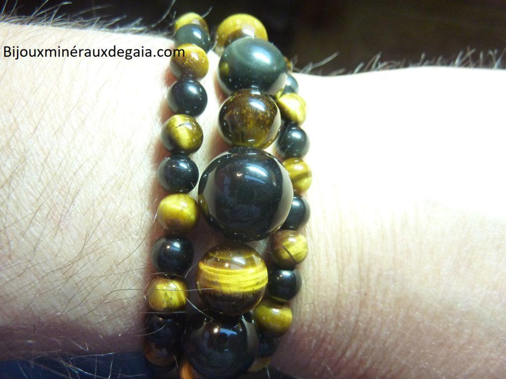Bracelet-Collier Obsidienne Oeil céleste-Oeil de tigre