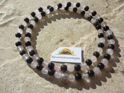 Bracelet-collier Quartz rose-Obsidienne oeil céleste perles 6 mm