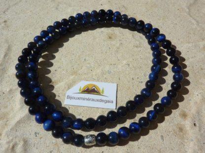 Collier-bracelet Oeil de faucon-perles rondes 6 mm