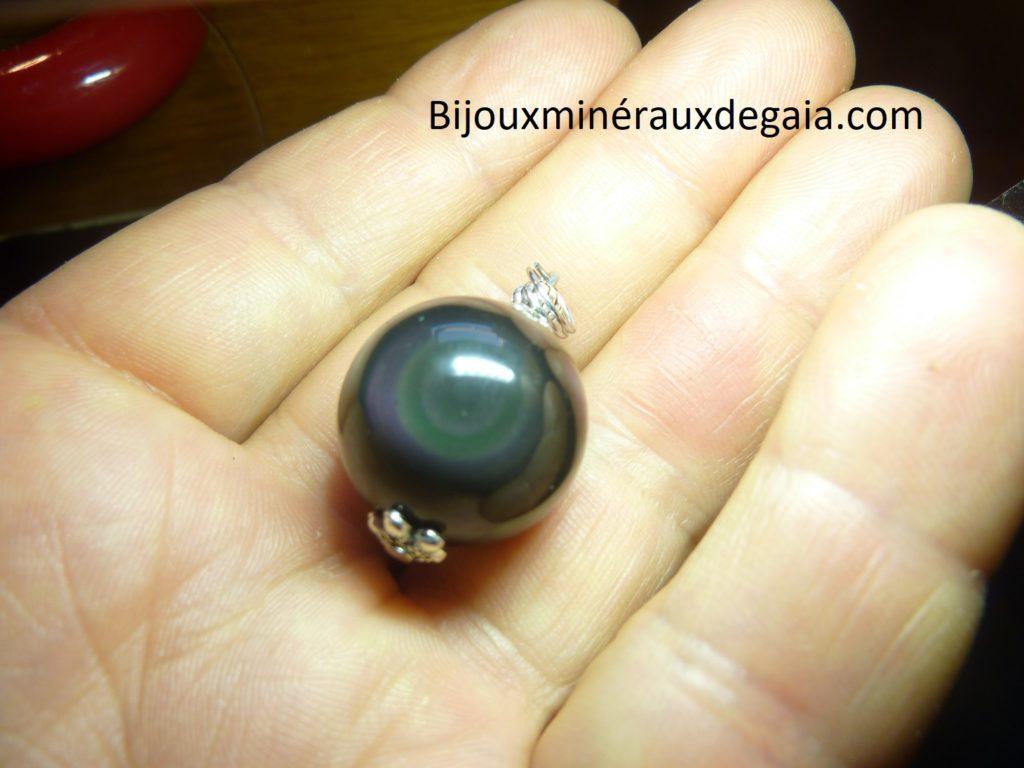 Pendentif Obsidienne oeil céleste ref 3081