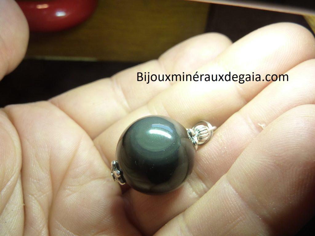 Pendentif Obsidienne oeil céleste ref 3664