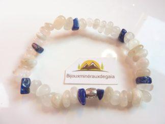 Bracelet Pierre de lune-Lapis lazuli perles 6-10 mm