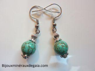 Boucles d'oreilles turquoise - Perles rondes 9 mm