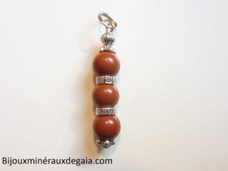 Pendentif Jaspe rouge-Perles rondes 8 mm