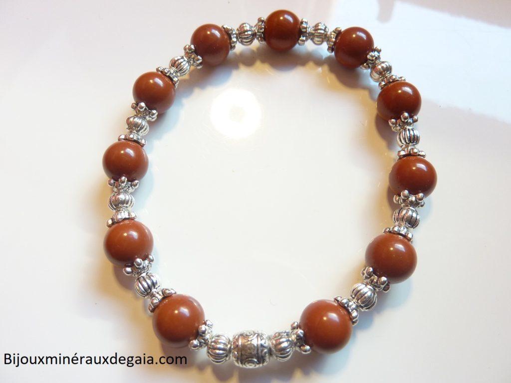 Bracelet Jaspe rouge -Perles rondes 8 mm