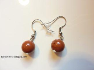 Boucles d'oreilles Jaspe rouge-Perles rondes 10 mm