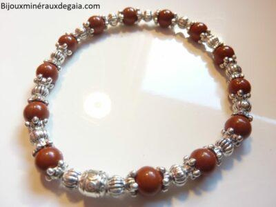 Bracelet Jaspe rouge et perles plaqué argent
