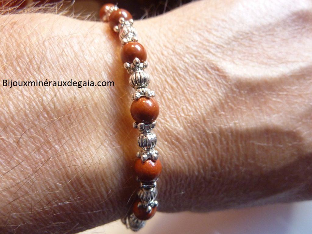Bracelet Jaspe rouge -Perles rondes 6 mm