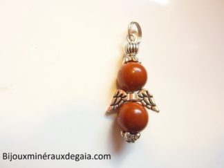 Pendentif Jaspe rouge ange -Perles rondes 8 mm
