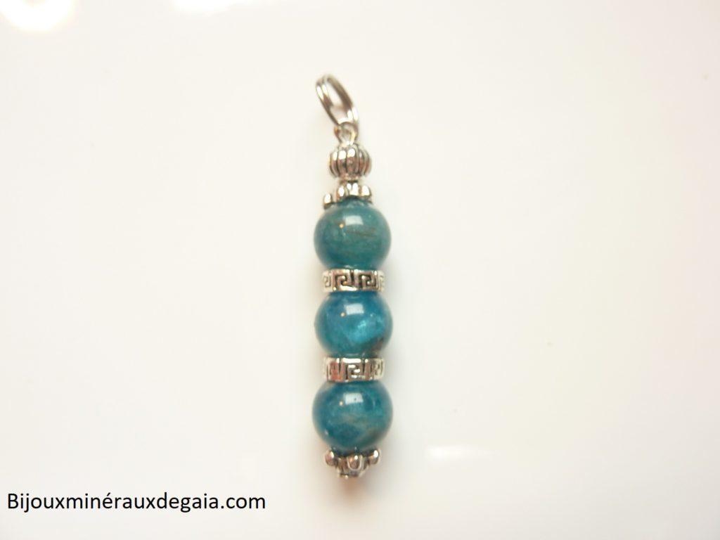 Pendentif Apatite-perles rondes 8 mm