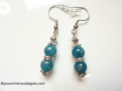 Boucles d'oreilles Apatite-perles rondes 8 mm