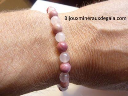 Bracelet Rhodochrosite-Quartz rose - Perles rondes 6 mm