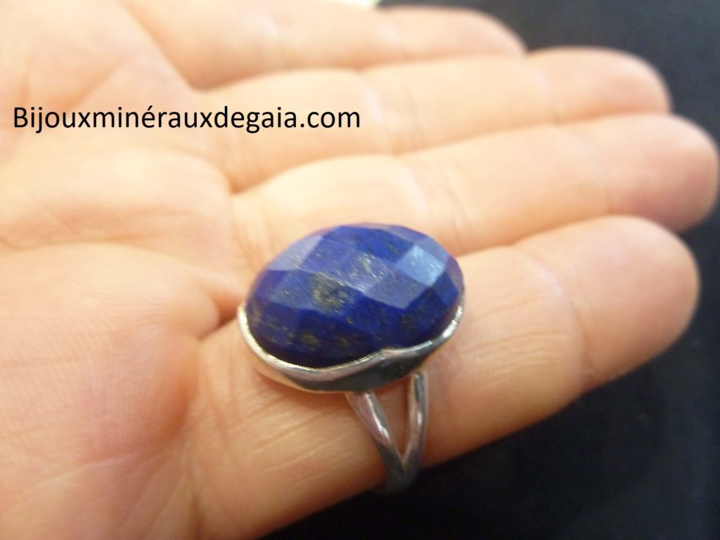 Bague Lapis lazuli monture argent 925 taille 59 ref 7495