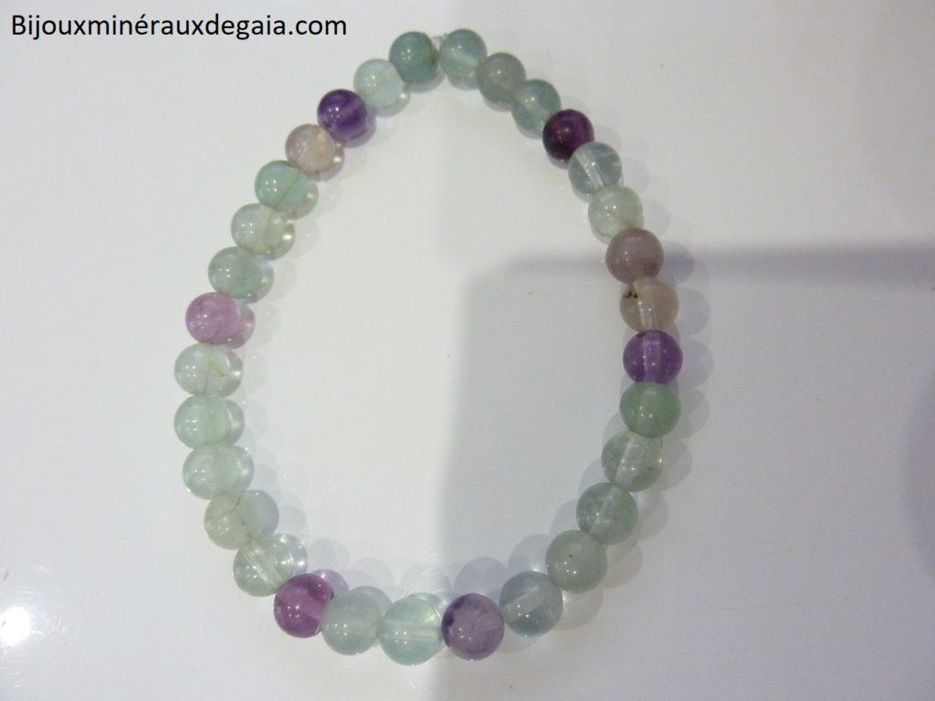 Bracelet Fluorite-Perles rondes 6 mm