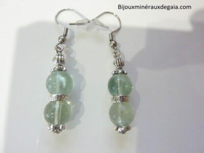 Boucles d'oreilles Fluorite-Perles rondes 8 mm