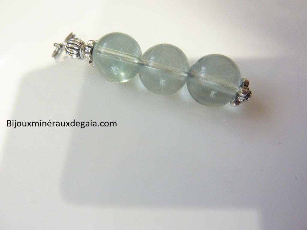 Pendentif Fluorite - Perles rondes 10 mm