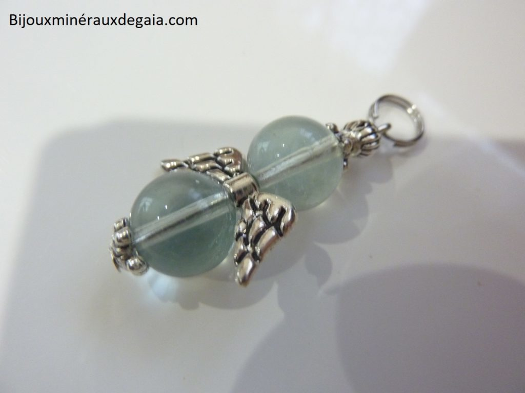 Pendentif Fluorite ange-Perles rondes 10 mm