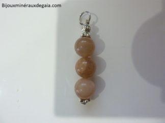 Pendentif pierre de soleil-Perles rondes 10 mm