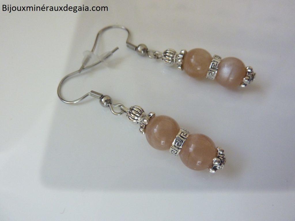 Boucles d'oreilles pierre de soleil-Perles rondes 8 mm