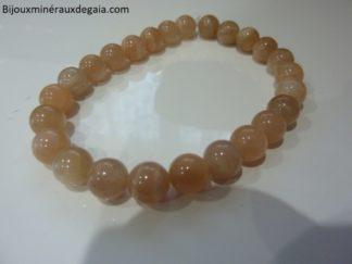 Bracelet pierre de soleil-Perles rondes 8 mm