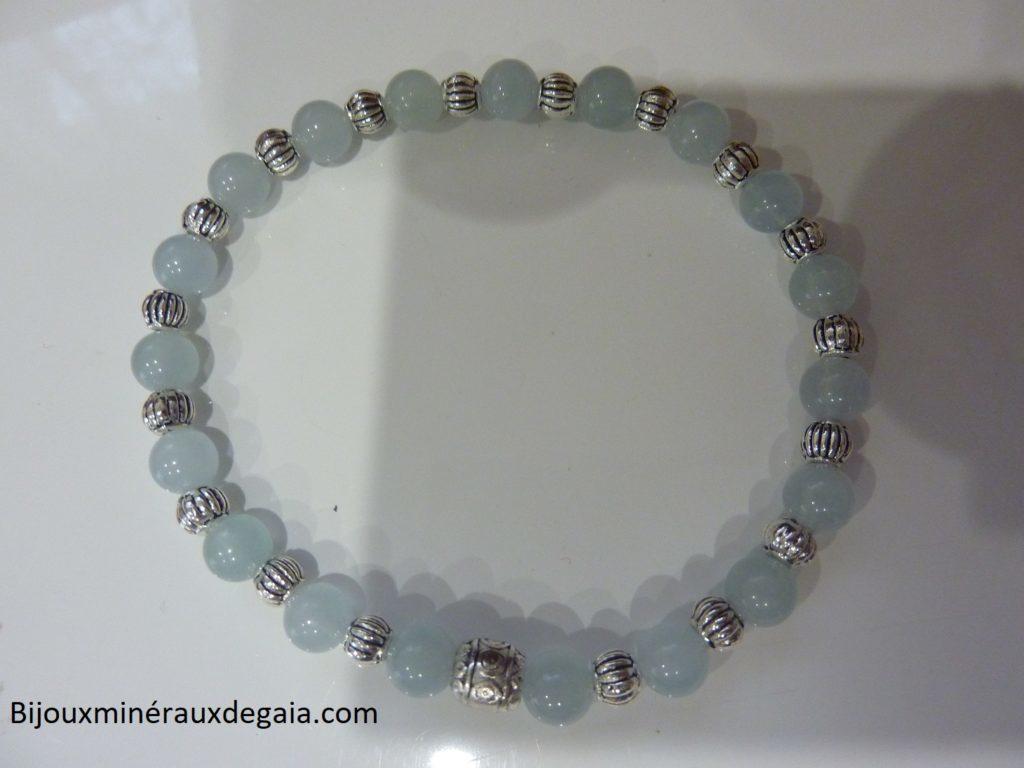 Bracelet aigue marine-Perles rondes 6 mm