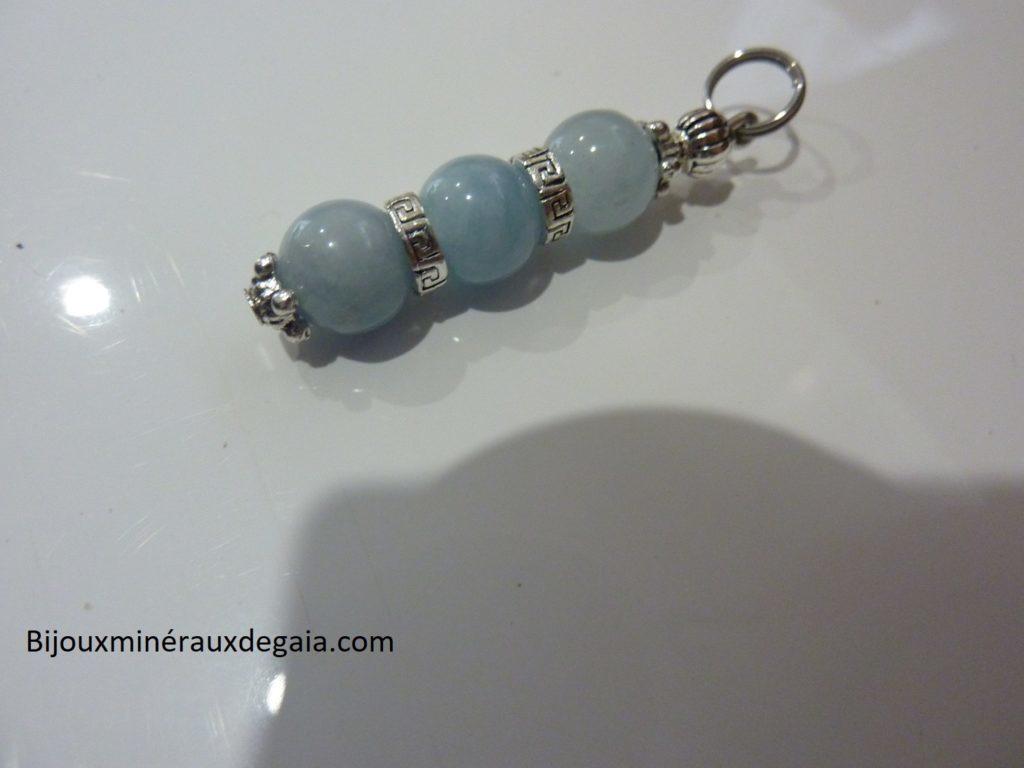 Pendentif Aigue marine-Perles rondes 8 mm