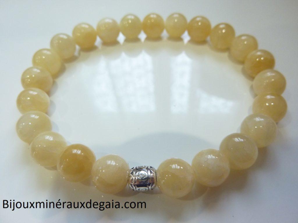 Bracelet Calcite orange - Perles rondes 8 mm