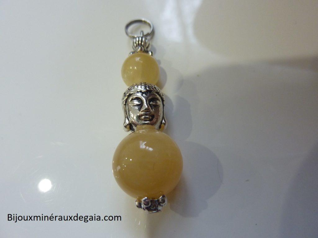 Pendentif Calcite orange Bouddha - Perles 12-10 mm