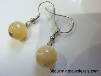 Boucles d'oreilles Calcite orange - Perles rondes 10 mm