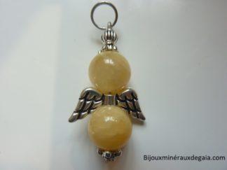 Pendentif Calcite orange Ange - Perles 10 mm