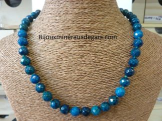 Collier AZURITE CHRYSOCOLLE-Perles à facettes 10 mm