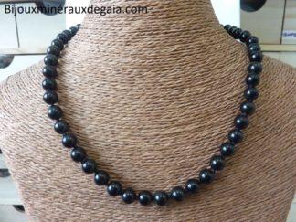 Collier Obsidienne oeil céleste-Perles rondes 8 mm