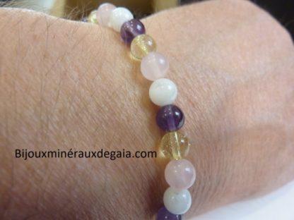 Bracelet citrine-pierre de lune-améthyste-quartz rose joie tendresse intuition